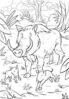 Boar with piglets
