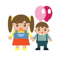 Popular : Brother and sister holding balloons