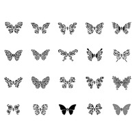 Butterfly tattoo set