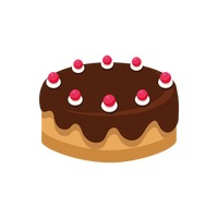 Popular : Cake with cherries and chocolate topping