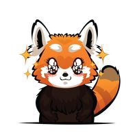 Cartoon red panda with sparkling eyes