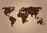Coffee beans world map design