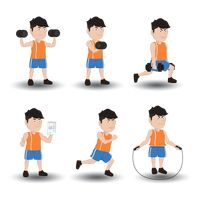 Collection of a man exercising