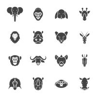 Collection of animal head icons