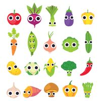 Collection of cute vegetables