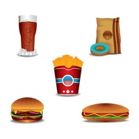 Collection of fast food items