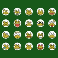 Collection of frogs with funny face expressions