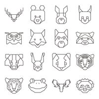 Collection of geometrical animal heads