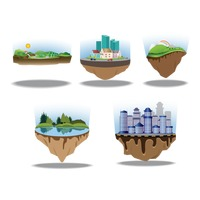 Collection of landscapes on floating islands