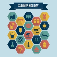 Collection of summer holiday icons