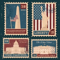 Collection of usa monuments postal stamps