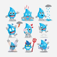 Popular : Collection of water drops character