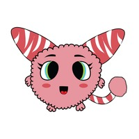 Popular : Cute furry monster on white background