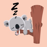 Cute koala bear sleeping on a tree trunk