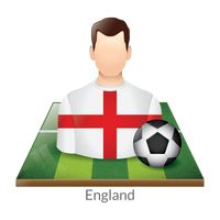 England player with soccer ball on field