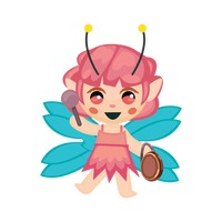 Fairy playing hand drum