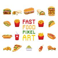 Fast food pixel art collection