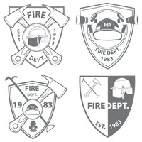 Fire department emblems and badges