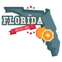 Florida map with orange