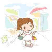 Girl with shopping bags on street