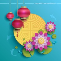 Popular : Happy mid-autumn festival background