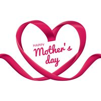 Happy mothers day card with heart ribbon