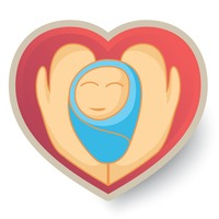 Heart with hands embracing a baby