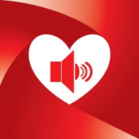 Popular : Heart with speakers symbol
