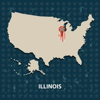 Illinois state on the map of usa