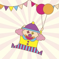 Illustration of a cartoon clown holding balloons