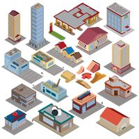Isometric city icons
