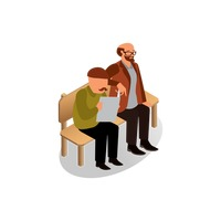 Isometric men sitting on bench