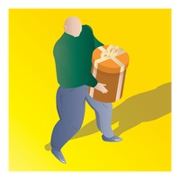 Popular : Isometric of a man holding gift box