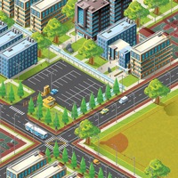 Isometric of city life