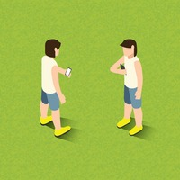 Isometric of men holding smartphone