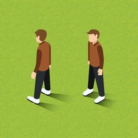 Isometric of men standing