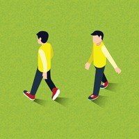 Isometric of men walking