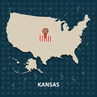Kansas state on the map of usa