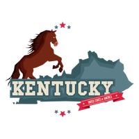Kentucky map with a horse