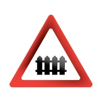 Popular : Level crossing with barrier sign