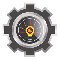 Light bulb in a cogwheel icon