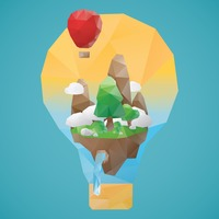 Low poly of hot air balloon  and mountainscape