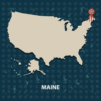 Maine state on the map of usa