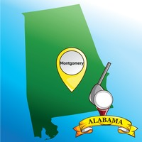 Map of alabama state with golf