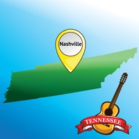 Map of tennessee state with guitar