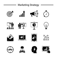 Marketing strategy icons collection