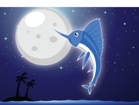 Marlin fish over a moonlit background