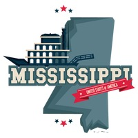 Mississippi map with mississippi river boats