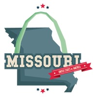 Missouri map with st louis gateway arch