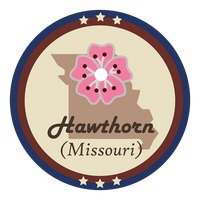 Missouri state with howthorn flower